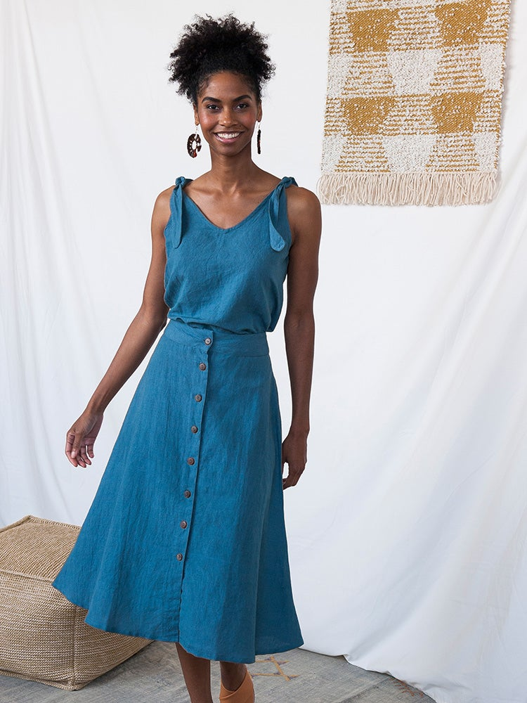 Image of Brighton Blue Linen Skirt
