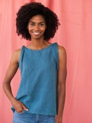 Image of Two Way Tank - Blue Linen