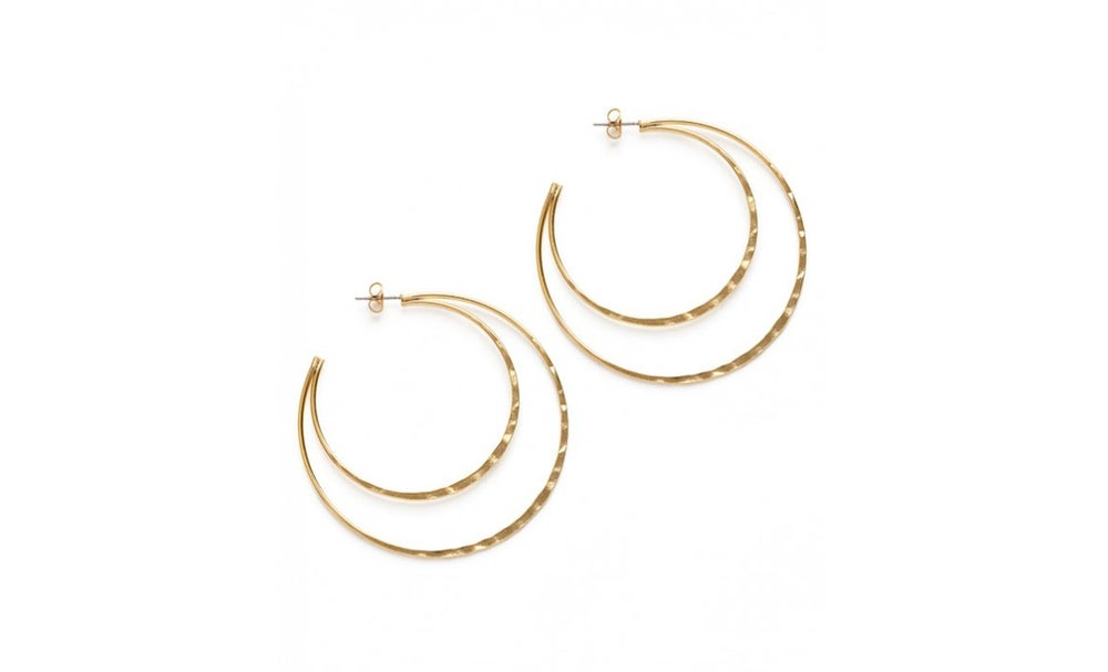 Image of Double Hammered Hoop Studs
