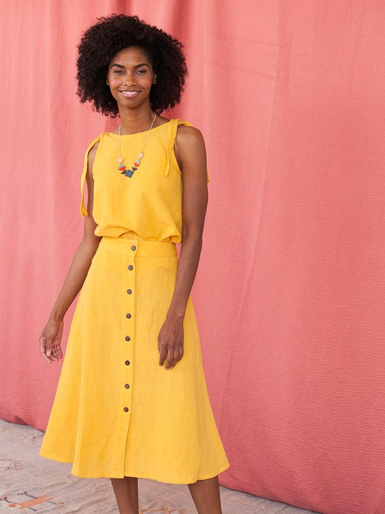 Image of Brighton Skirt - Yellow Linen