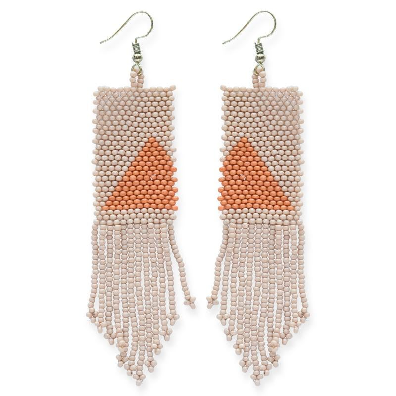 Image of Modern Triangle Beaded Fringe Earrings - Pink + Orange