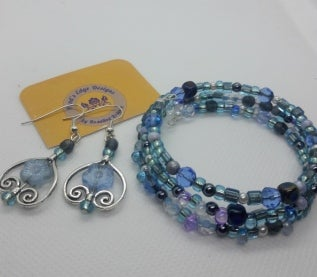 Blue Memory Wire Bracelet and Earring Set