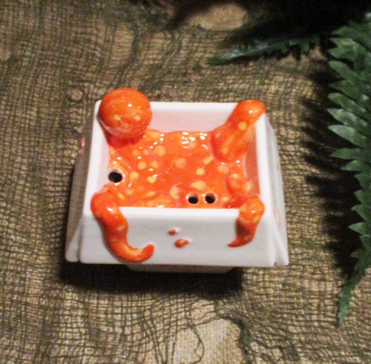 "CREATURE FROM THE CRAB RANGOON ""Spicy"" Orange Limited Edition 11oz 2-Piece Ceramic Tiki Mug"