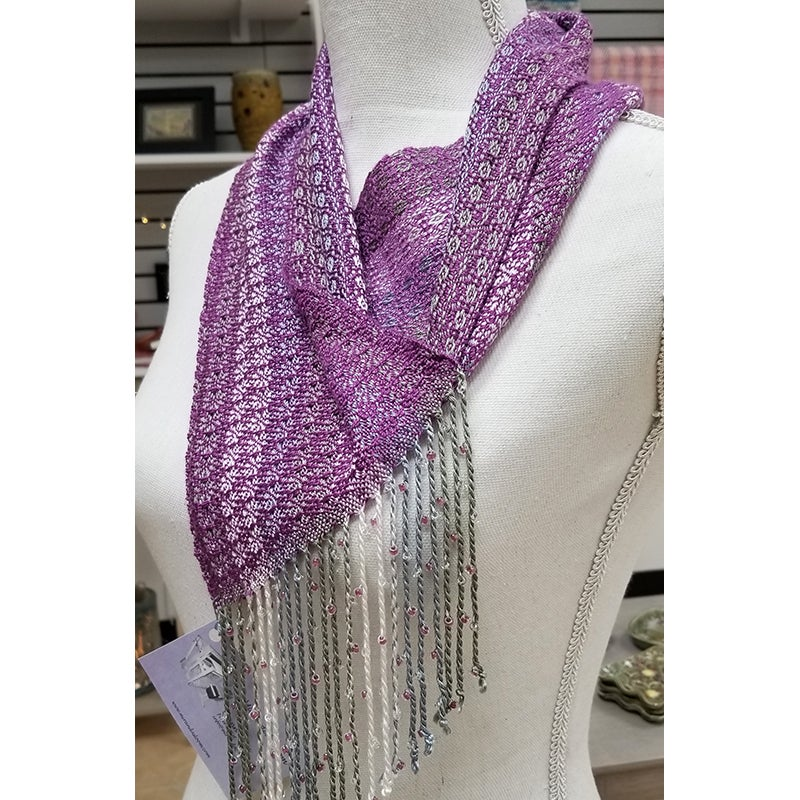 Image of Cowl - Fuchsia w/ Silver Sage White and Beaded Fringe