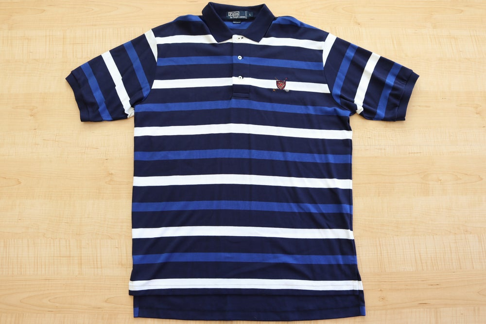 Image of Vintage 1990's Ralph Lauren Polo Golf Crest Collard Shirt Sz.L