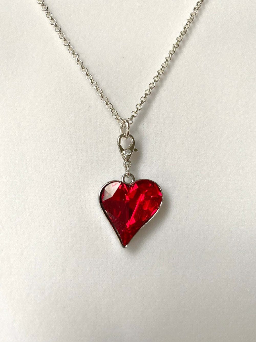 Red Crystal Heart Pendant and Silver Chain Necklace