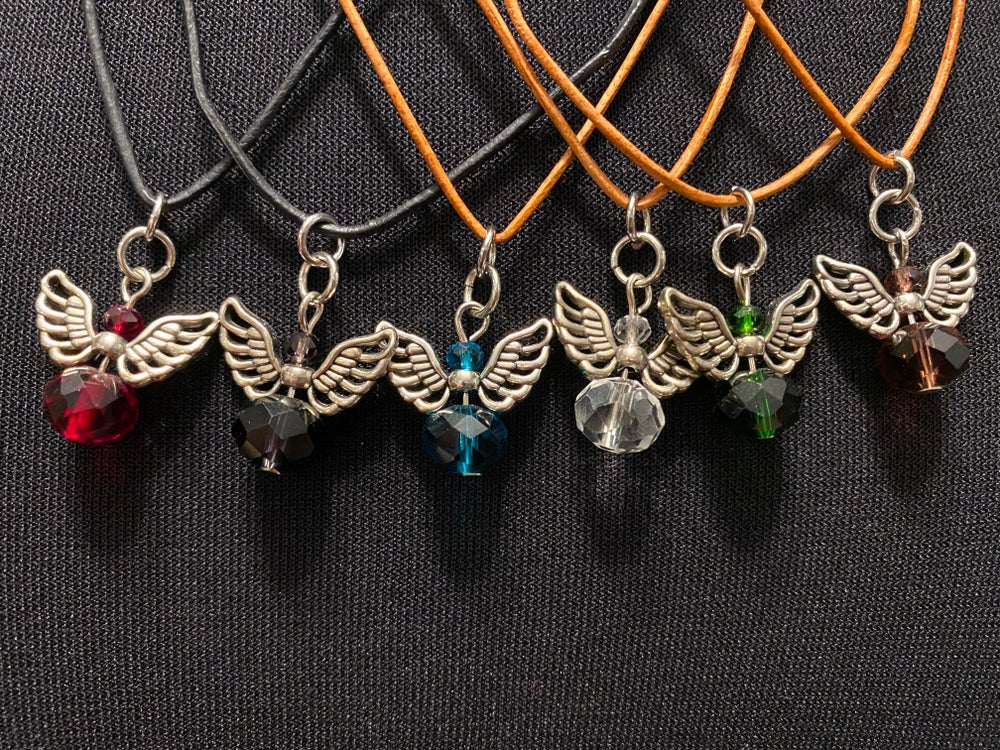 Angel Glass Birthstone Leather Necklace