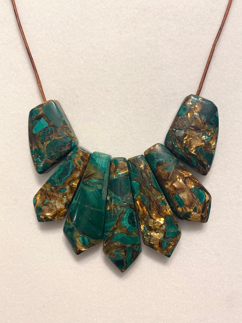 Malachite Mosaic Leather Necklace