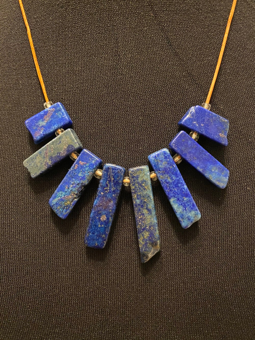 Lapis Tab Leather Necklace