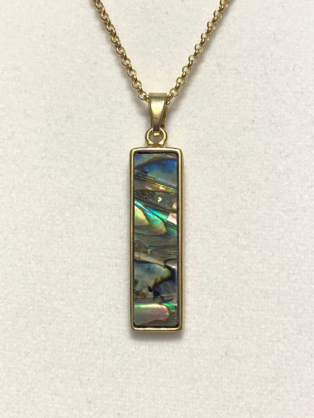 Abalone Tab and Gold Plated Chain Necklace