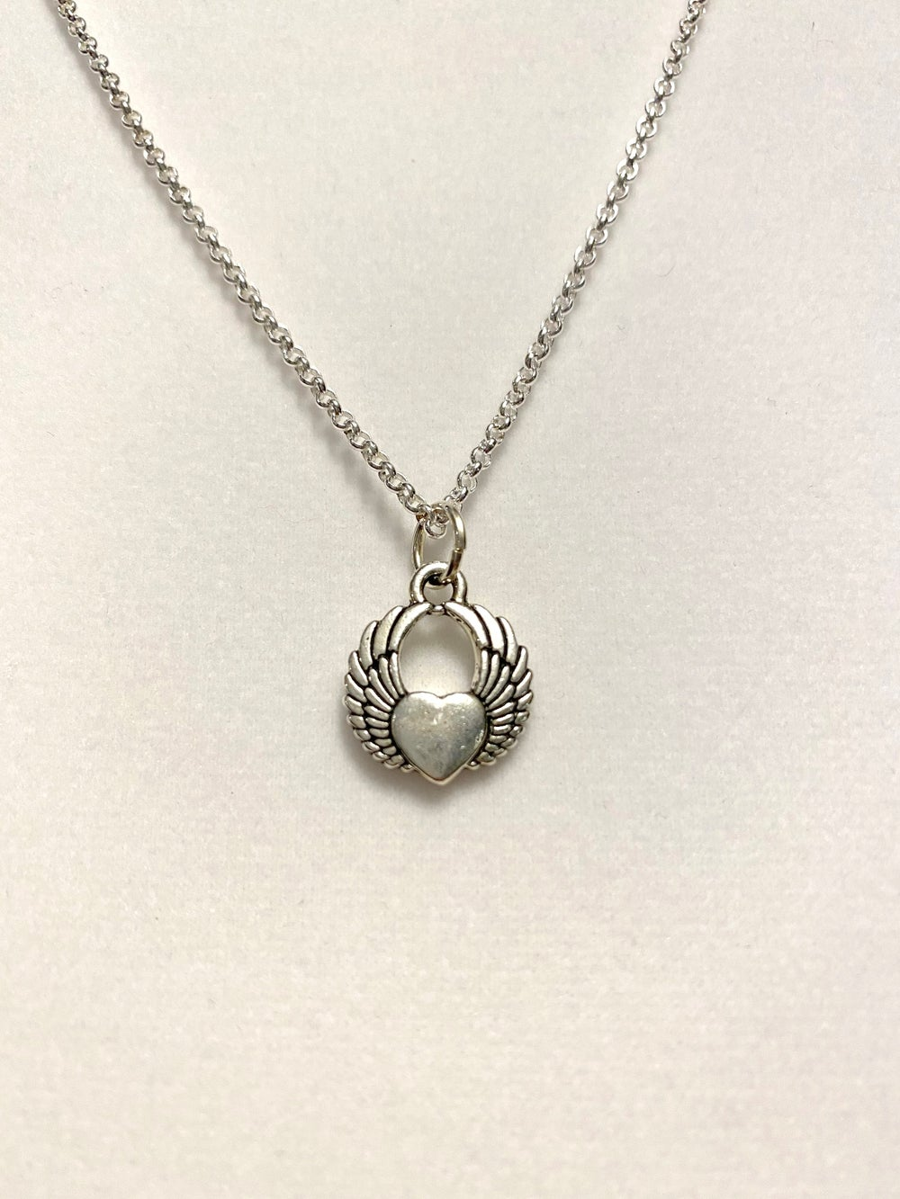 Silver Winged Heart and Chain Necklace