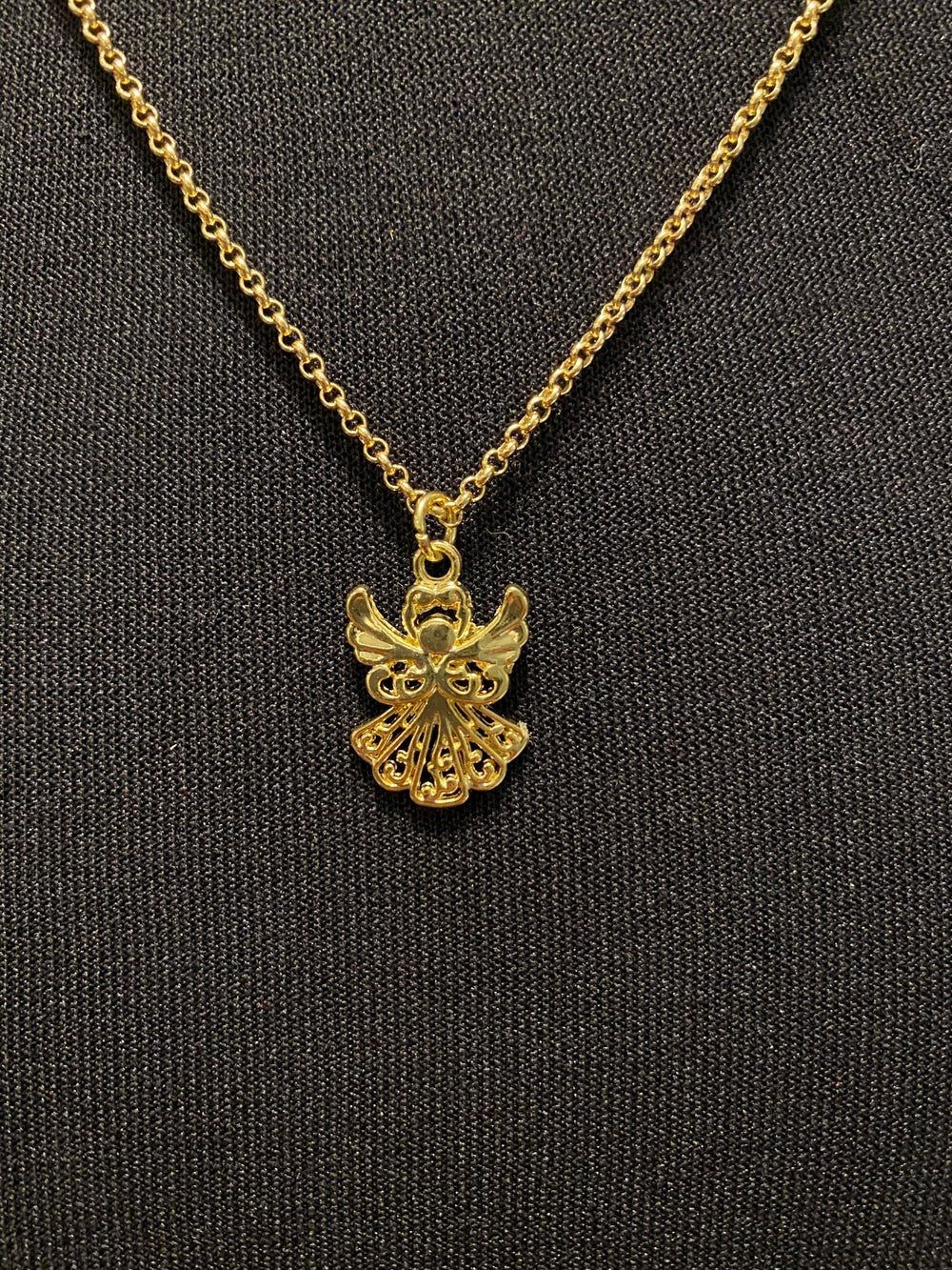 Angel Pendant and Gold Chain Necklace