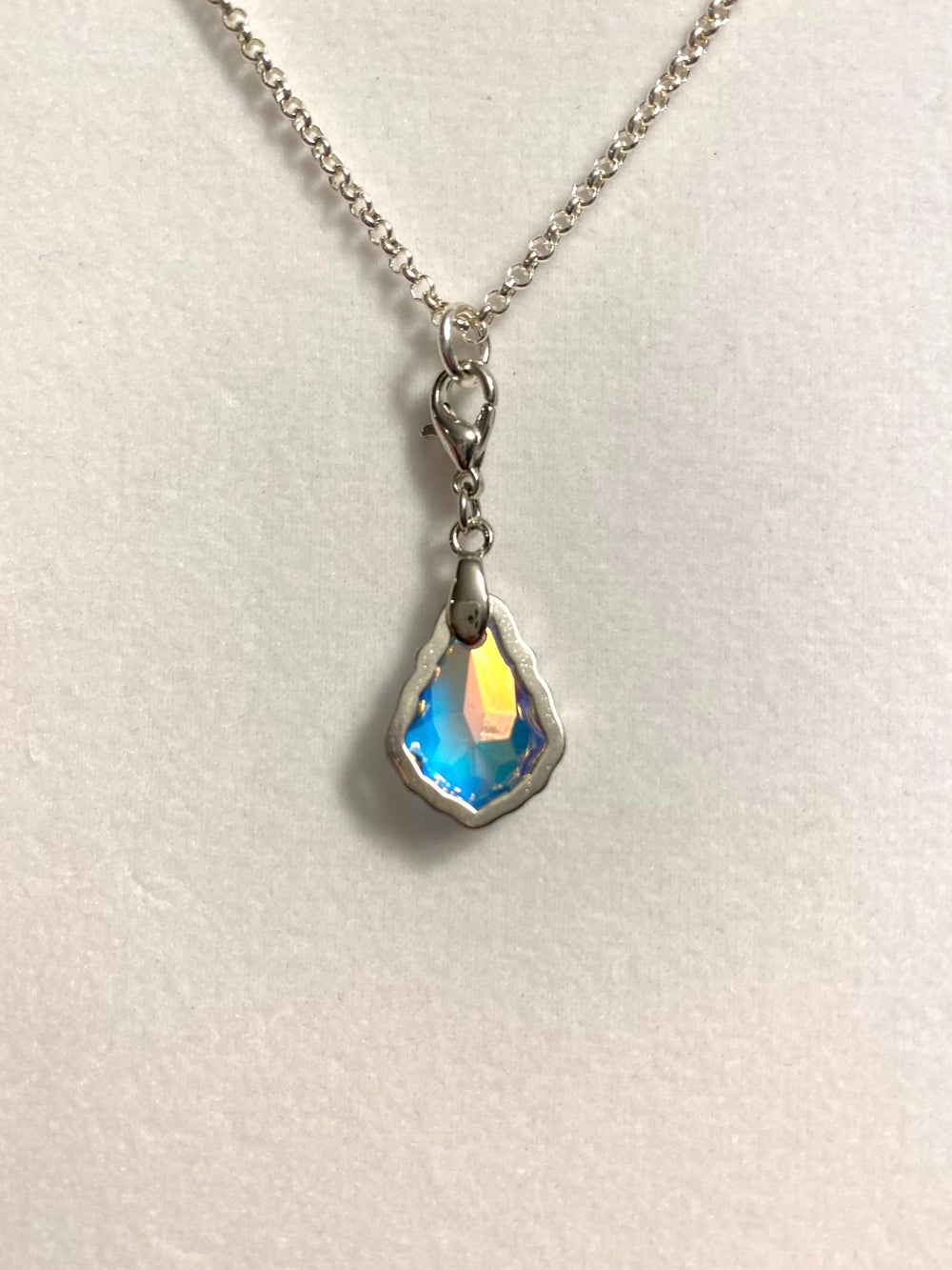 Baroque Crystal Pendant and Silver Chain Necklace