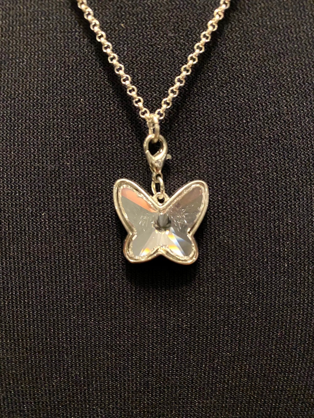 Crystal Butterfly Pendant and Silver Chain Necklace