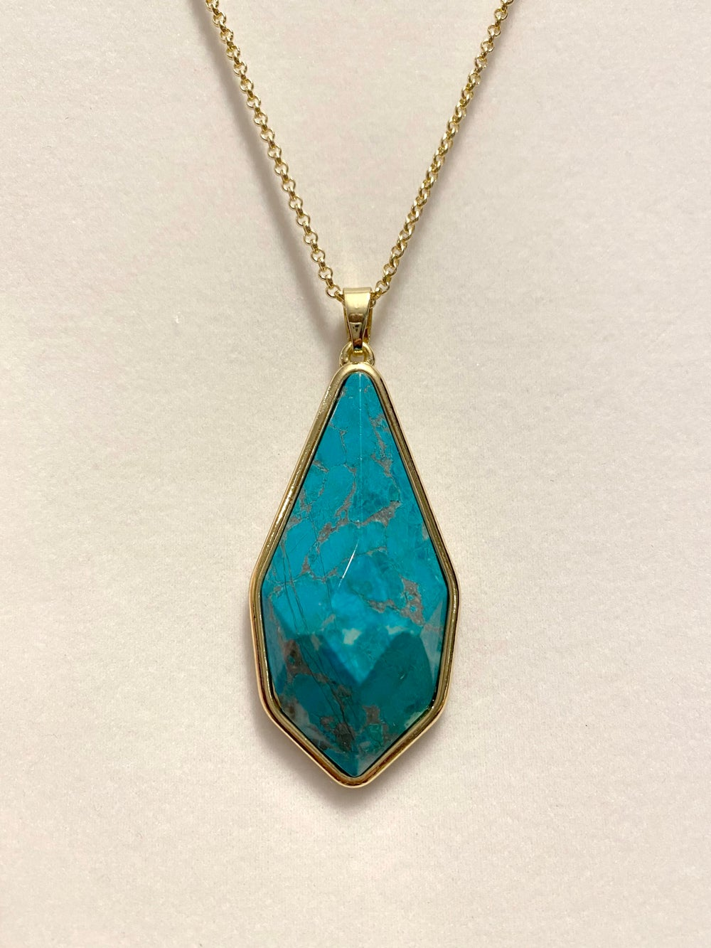 Turquoise Teardrop Pendant with Gold Chain Necklace