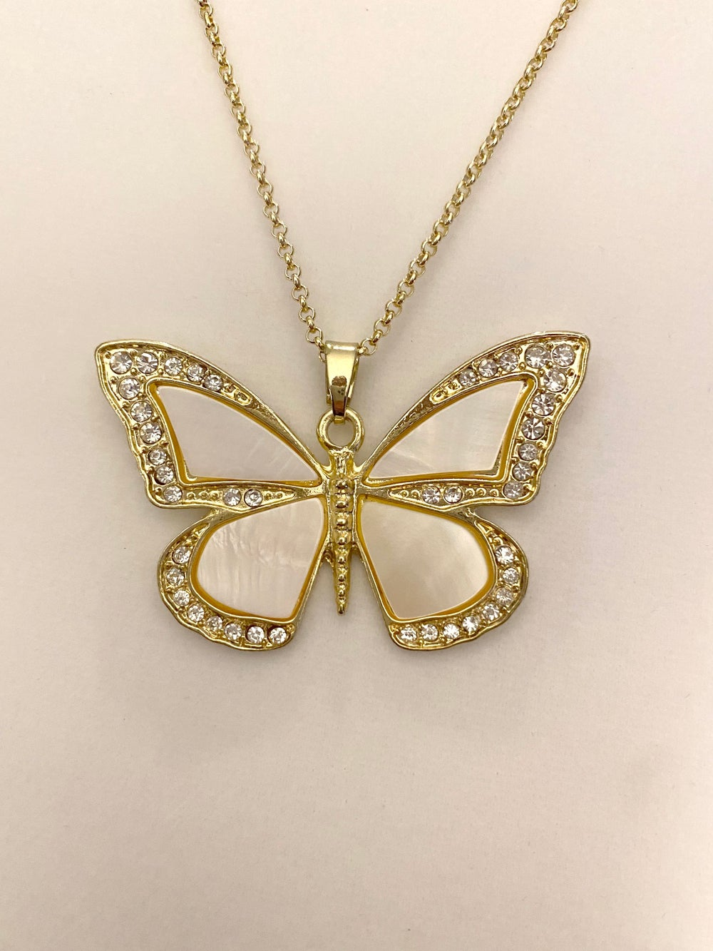 River Shell Butterfly Pendant and Gold Chain Necklace