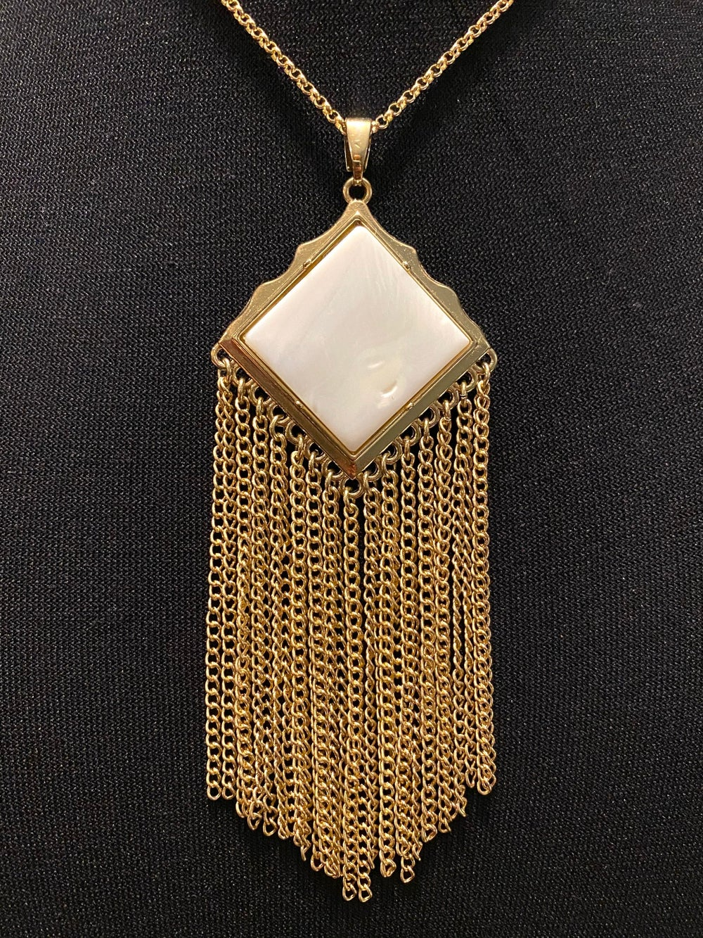 River Shell Pendant with Tassels and Gold Chain Necklace
