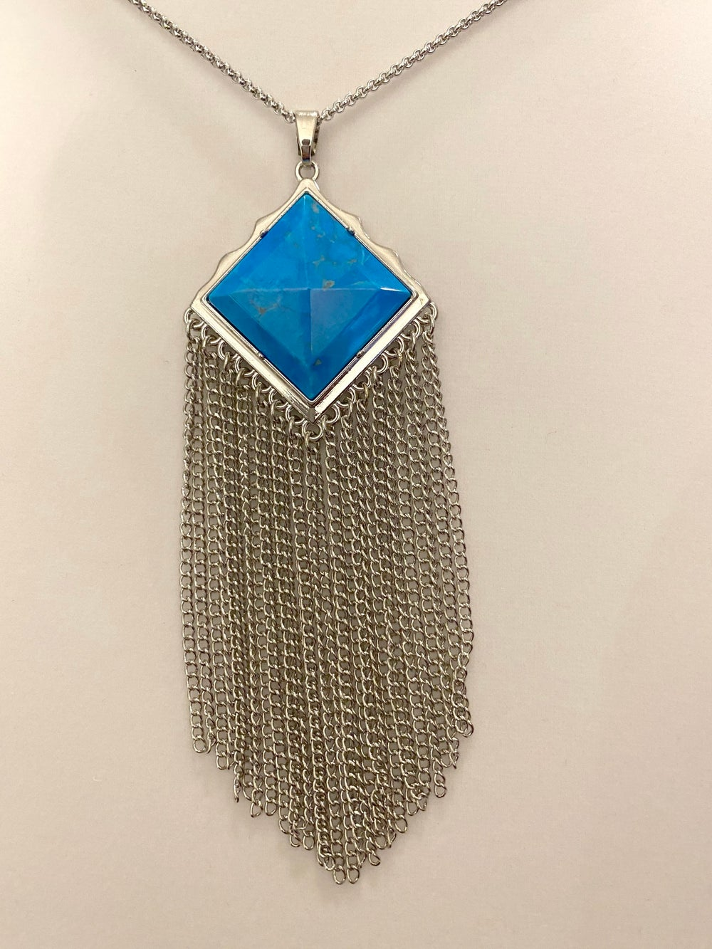 Turquoise Pendant with Tassels and Stainless Steel Chain Necklace