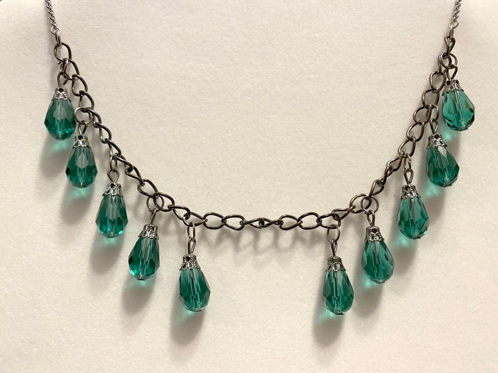 Glass Drop Pendants and Stainless Steel Chain Necklace