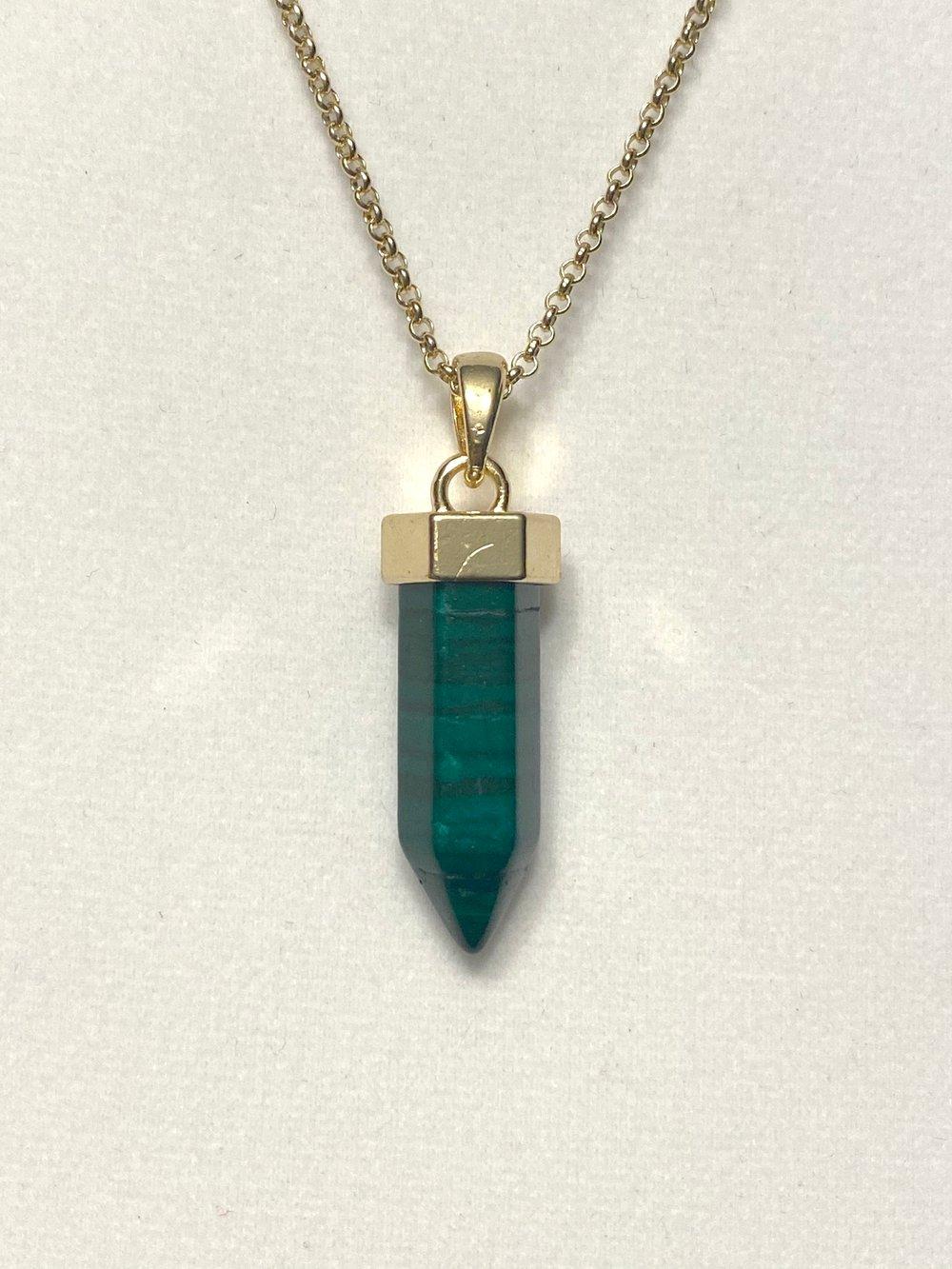 Malachite Pendant and Gold Chain Necklace