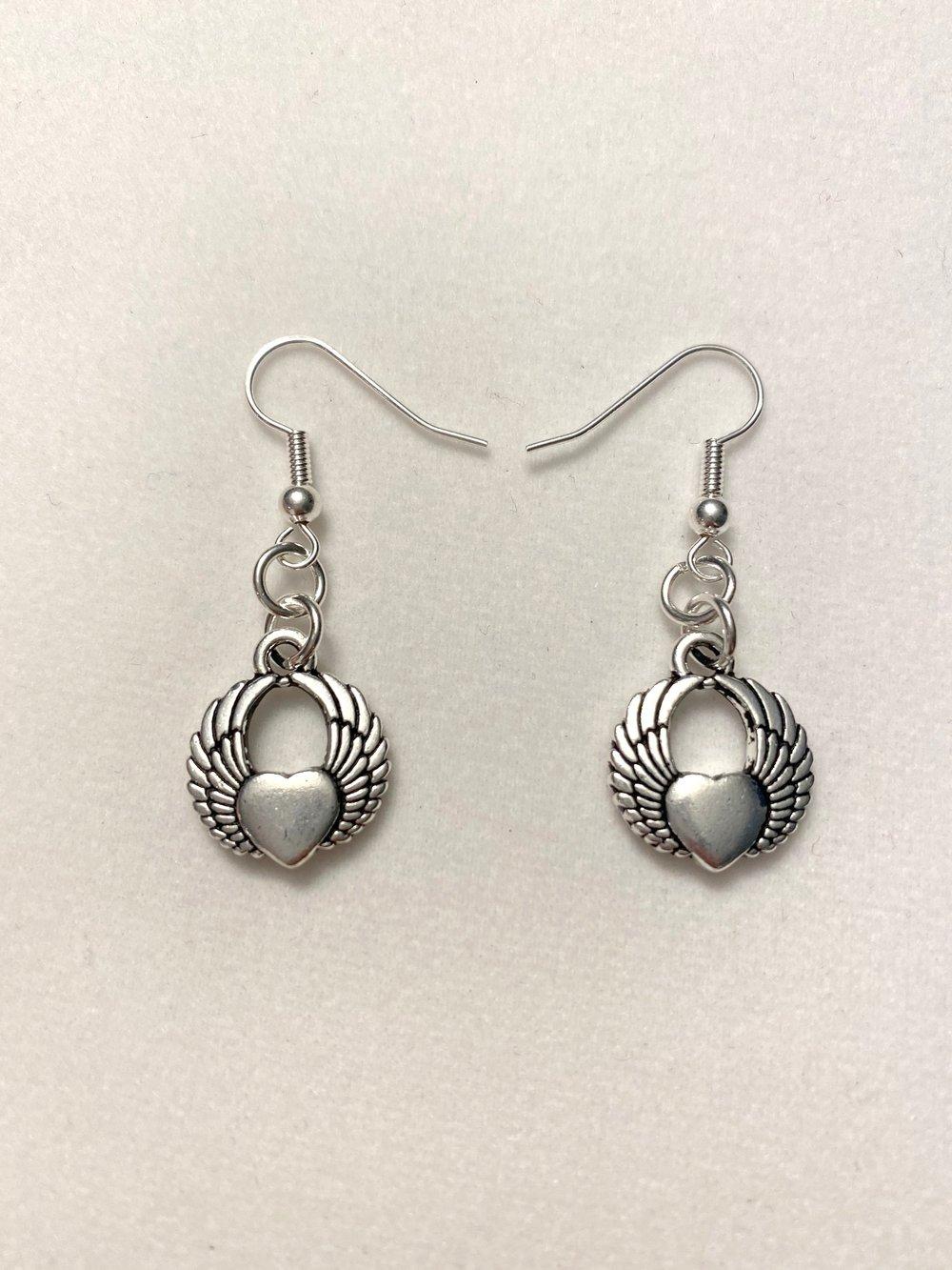 Silver Winged Heart Earrings