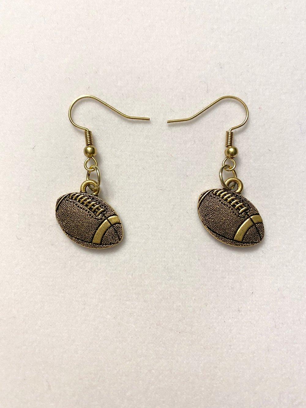 Gold Football Earrings