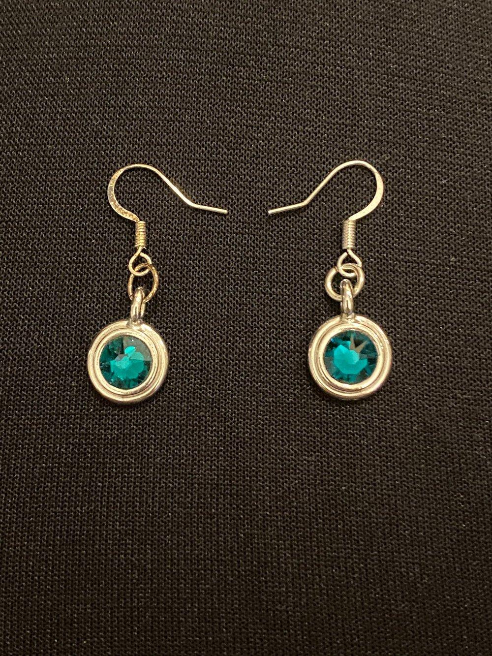 Emerald Glass Pendant Silver Earrings