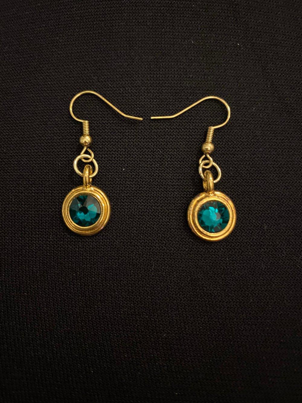 Emerald Glass Pendant Gold Earrings