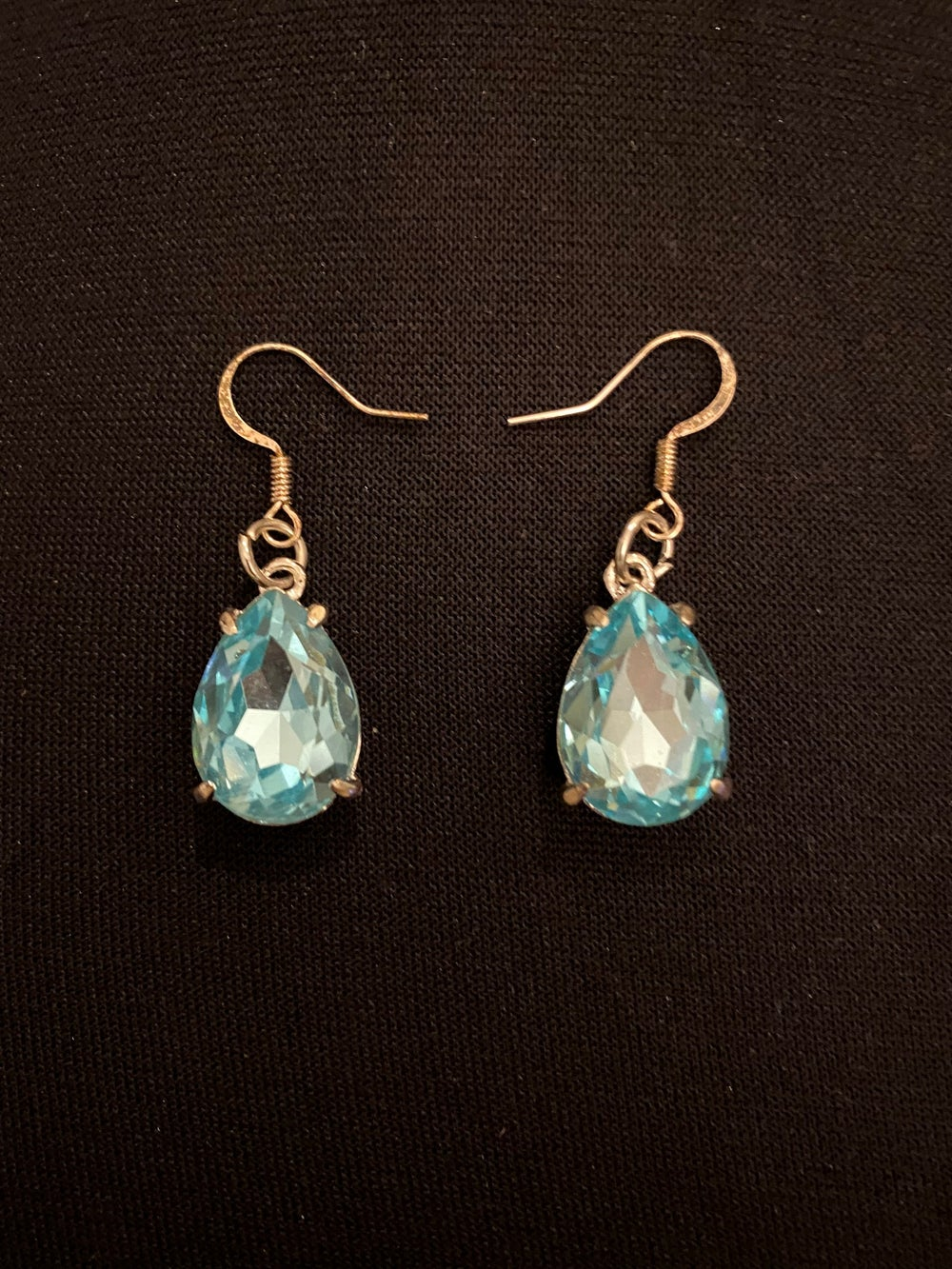 Turquoise Glass Silver Earrings