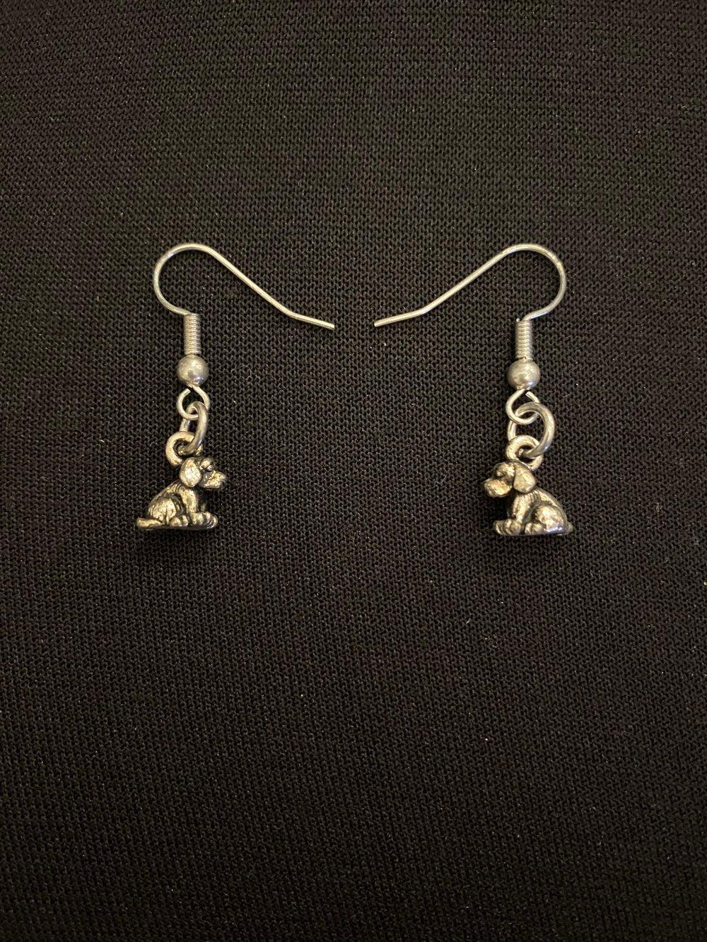 Silver Dog Earrings