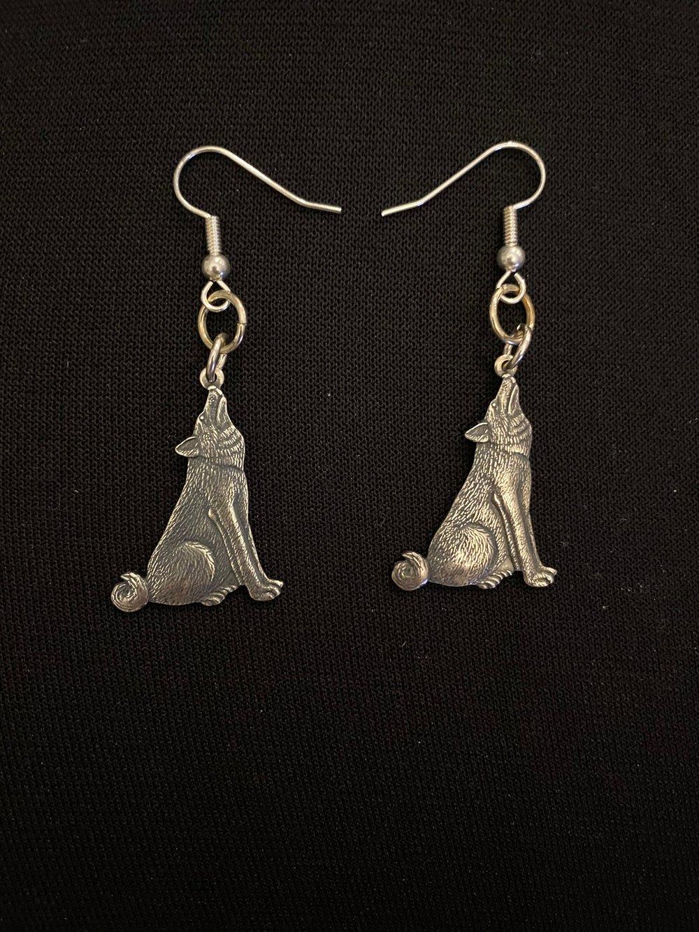 Silver Wolf Earrings
