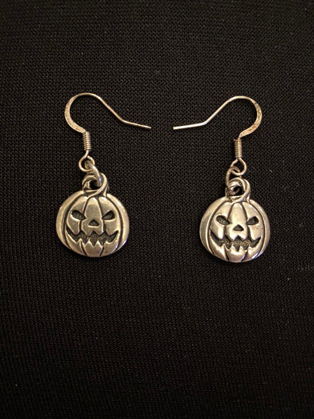 Silver Pumpkin Earrings