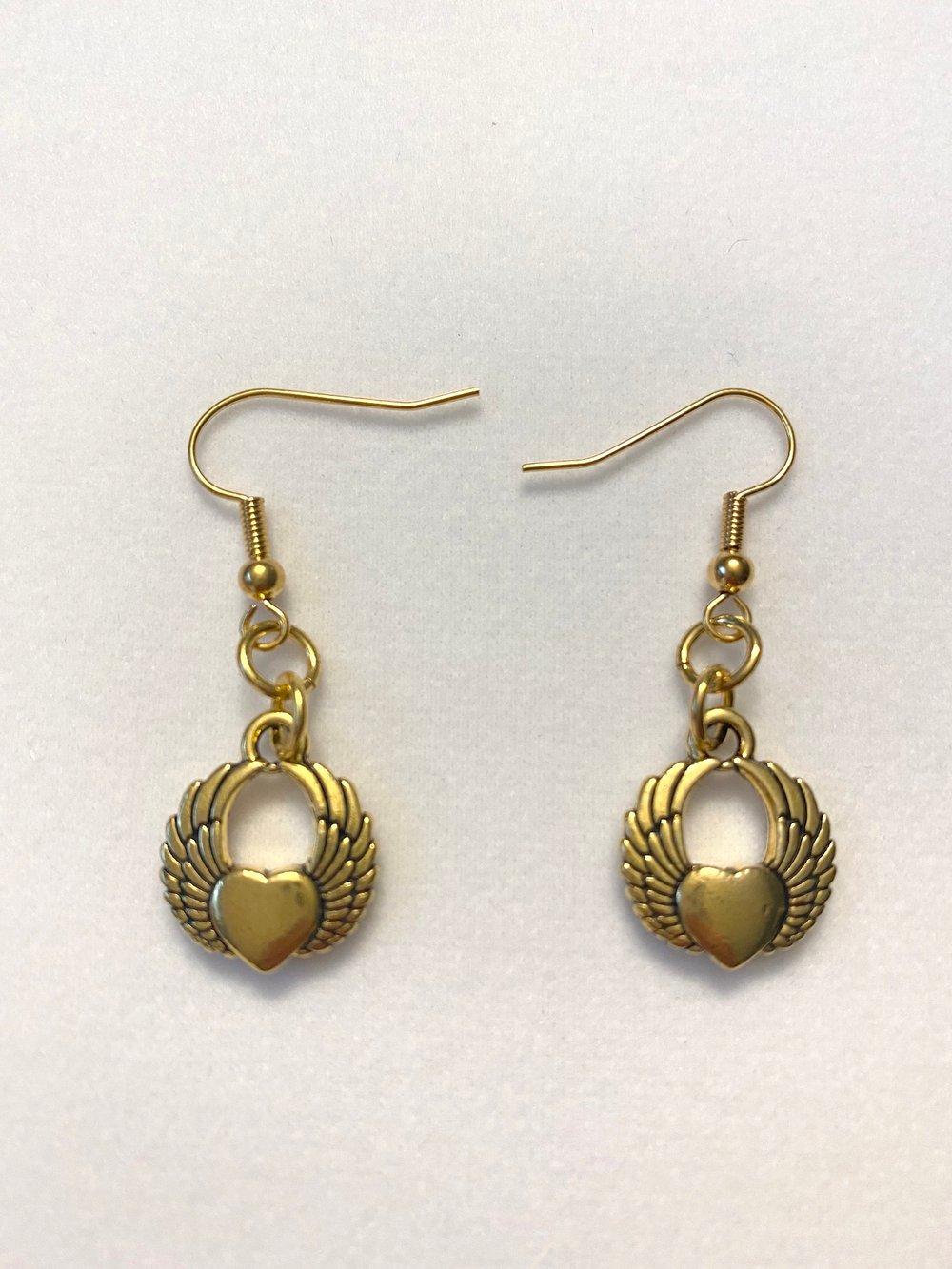 Gold Winged Heart Earrings
