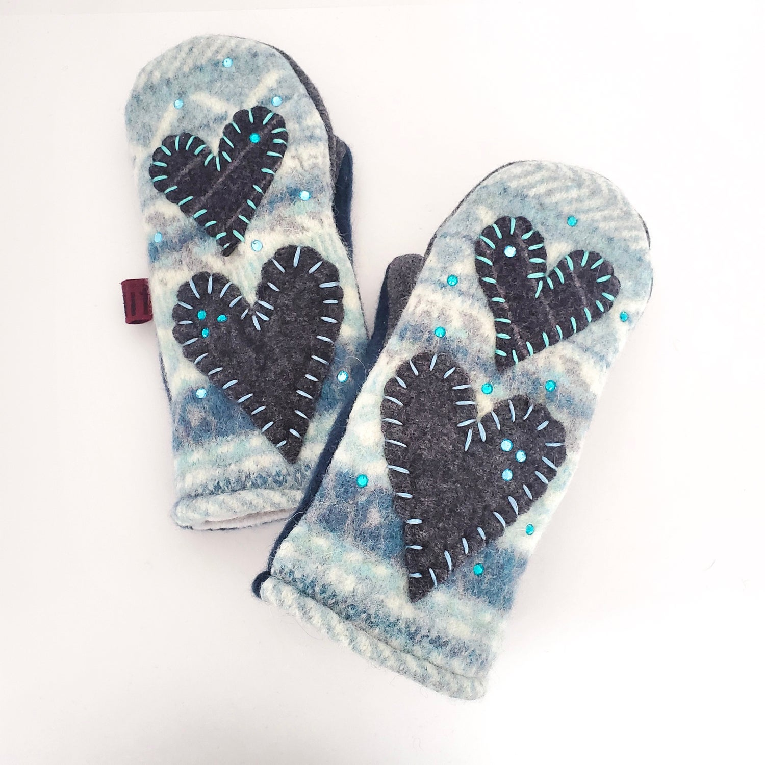Image of Edit 2020 Repurposed Wool Sweater Mittens Sparkle Hearts
