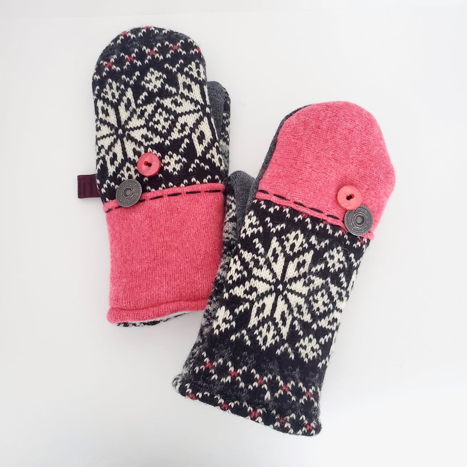 Image of Edit 2020 Repurposed Wool Sweater Mittens- Snowflake Mix