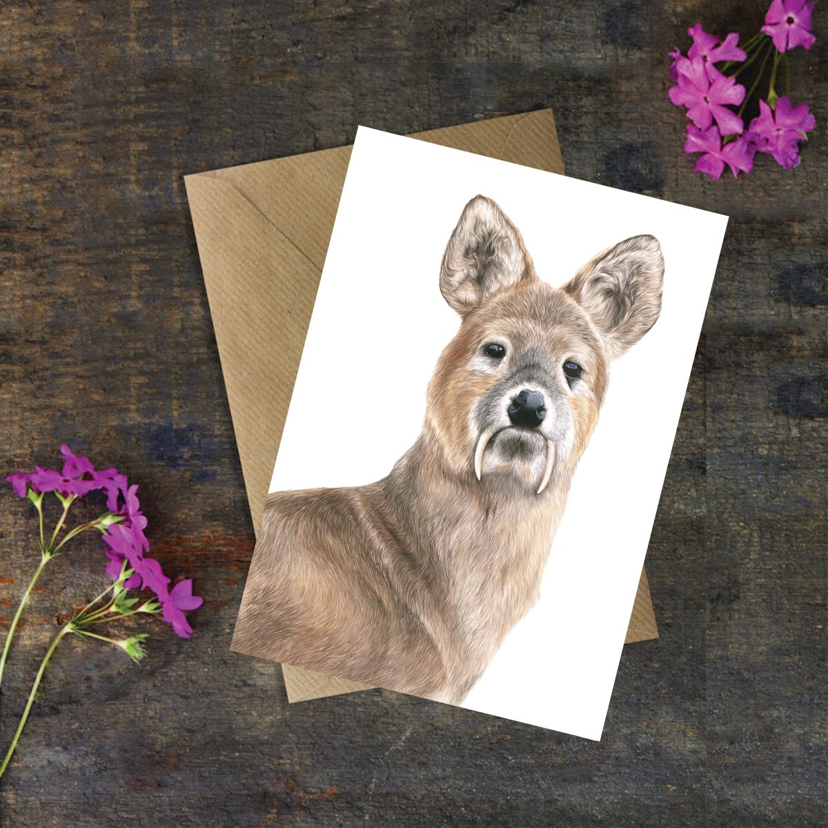 Image of 'Chinese Water Deer Portrait' Greeting Card