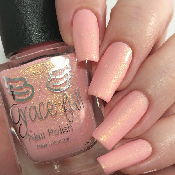 Image of Pink Alien– a super soft baby pink crelly packed with contrasting gold shimmer