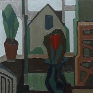 Image of 1952 Painting, Interior with Plants, ALF LINDBOM