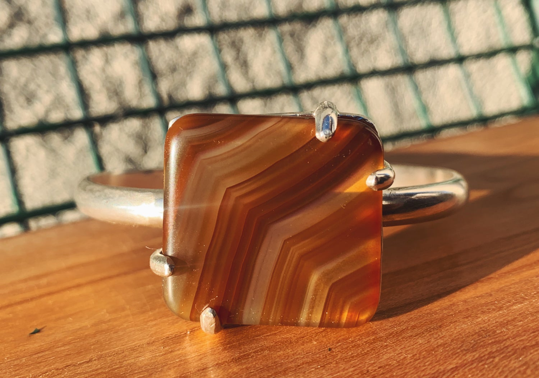 Image of Sardonyx + Sterling Silver Cuff