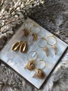 Gold Palm Tree and Shell Small Hoop