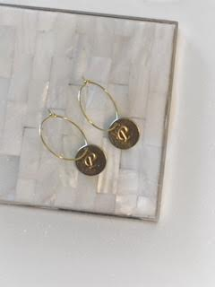 Gold Initial Coin Hoops
