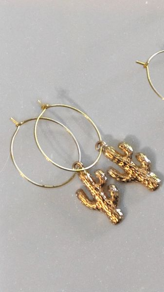 Gold Cactus Hoops
