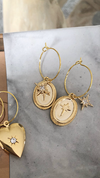 Gold North Star 2 Charm Hoops
