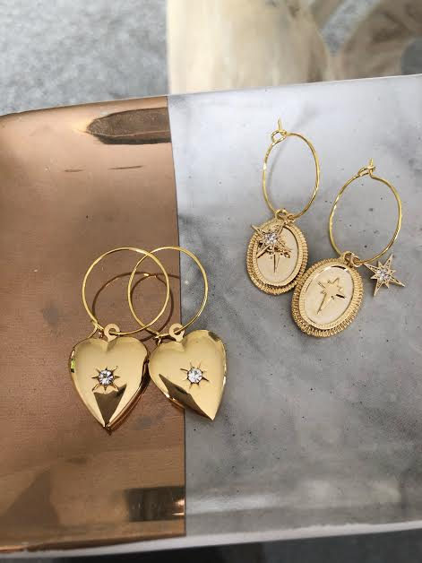 Gold Plated Heart Locket Hoops