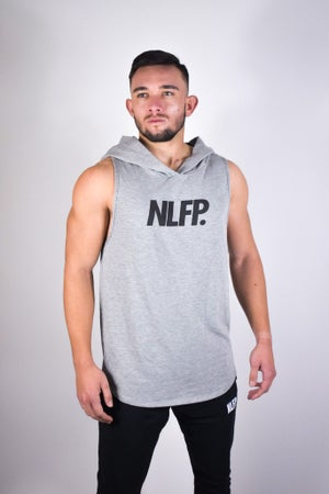 Image of SIGNATURE CUT OFF HOODIE LIGHT GREY