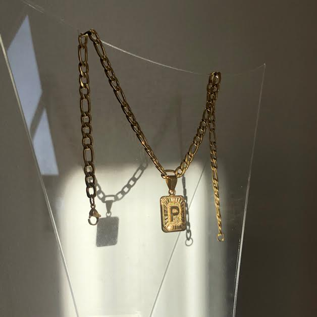 6mm Chunky Chain with Gold Letter Necklace