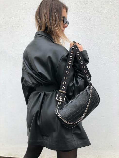 Buckle Cross Body Bag w/ Chain