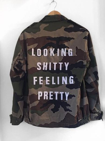 'LOOKING SHITTY FEELING PRETTY' Vintage Reworked Camo Jacket