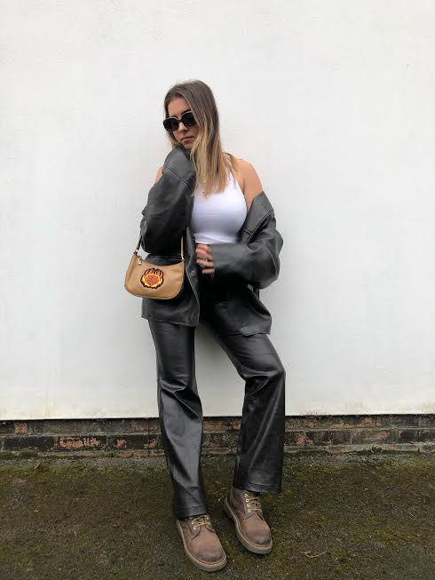 Low Rise Buckle Leather Trousers