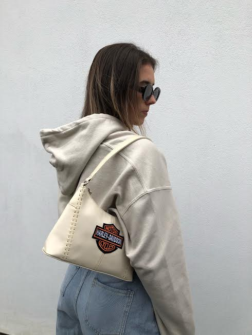 Beige Double Harley Davidson Patch Hoodie